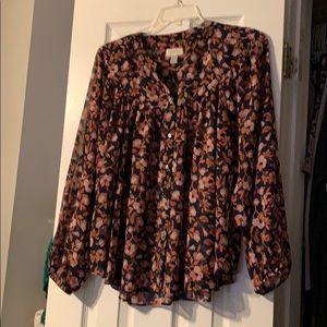 LOFT floral print blouse Size XL